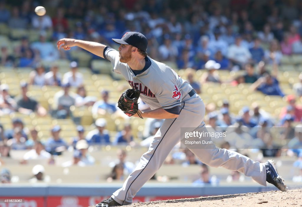 Closer Cody Allen #37 of the Cleveland Indians throws a pitch in the ninth inning on his way to picking up the save against the Los Angeles Dodgers at Dodger Stadium on July 2, 2014 in Los Angeles, California. The Indians won 5-4.