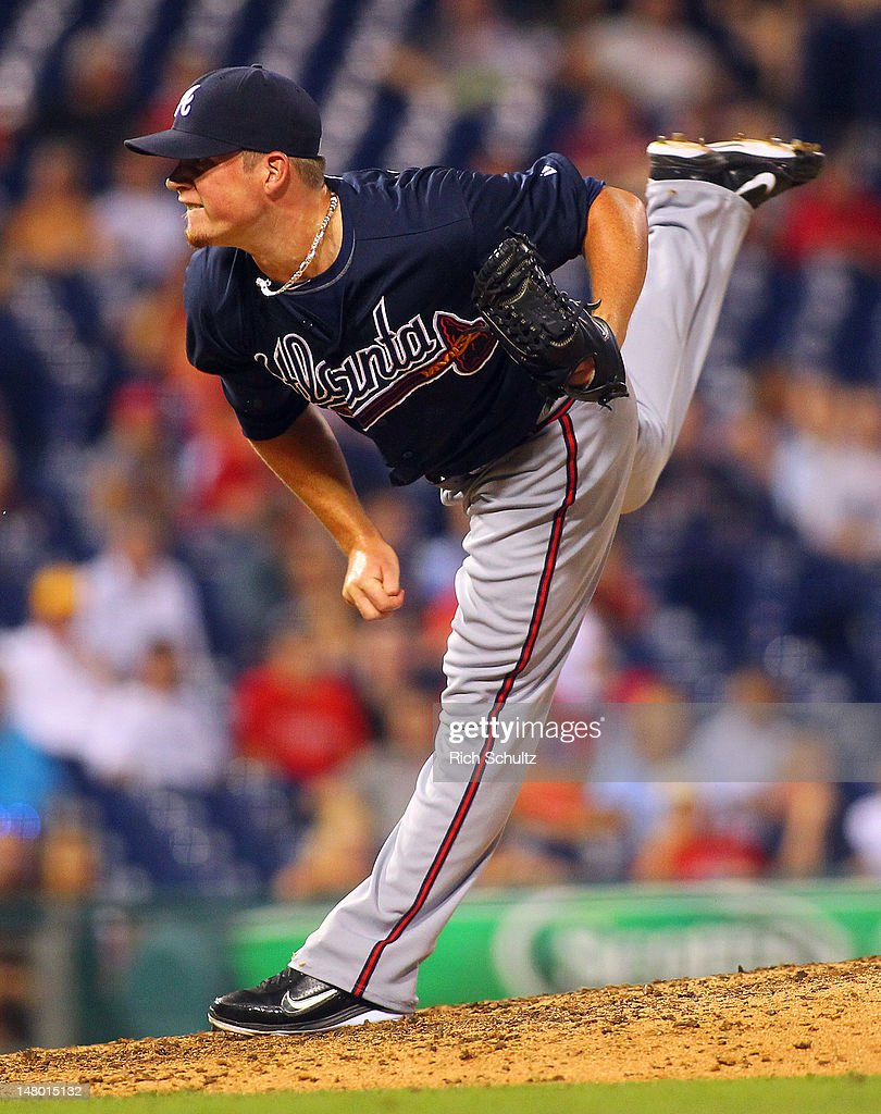 Closer <a gi-track='captionPersonalityLinkClicked' href=/galleries/search?phrase=Craig+Kimbrel&family=editorial&specificpeople=6795784 ng-click='$event.stopPropagation()'>Craig Kimbrel</a> #46 of the Atlanta Braves delivers a pitch against the Philadelphia Phillies during a MLB baseball game on July 7, 2012 at Citizens Bank Park in Philadelphia, Pennsylvania. The Braves defeated the Phillies 6-3.