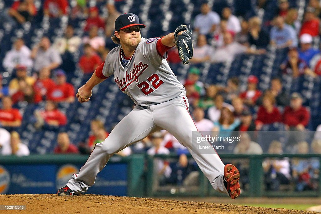 Closer <a gi-track='captionPersonalityLinkClicked' href=/galleries/search?phrase=Drew+Storen&family=editorial&specificpeople=5926519 ng-click='$event.stopPropagation()'>Drew Storen</a> #22 of the Washington Nationals throws a pitch during a game against the Philadelphia Phillies at Citizens Bank Park on September 26, 2012 in Philadelphia, Pennsylvania. The Nationals won 8-4.