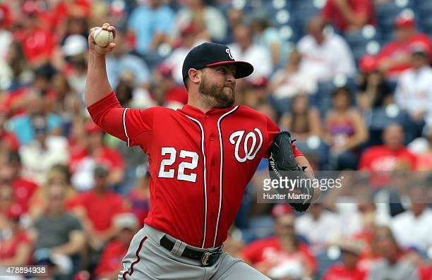Closer Drew Storen of the Washington Nationals throws a pitch in the ninth inning during game one of a doubleheader against the Philadelphia Phillies...