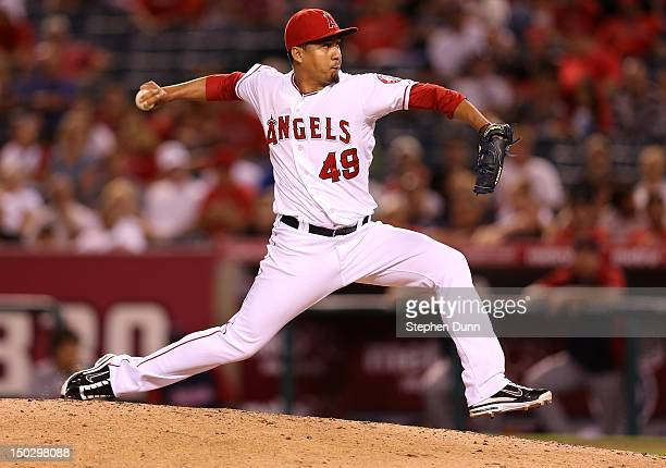 Closer Ernesto Frieri of the Los Angeles Angels of Anaheim pitches in the ninth inning on his way to picking up a save against the Cleveland Indians...