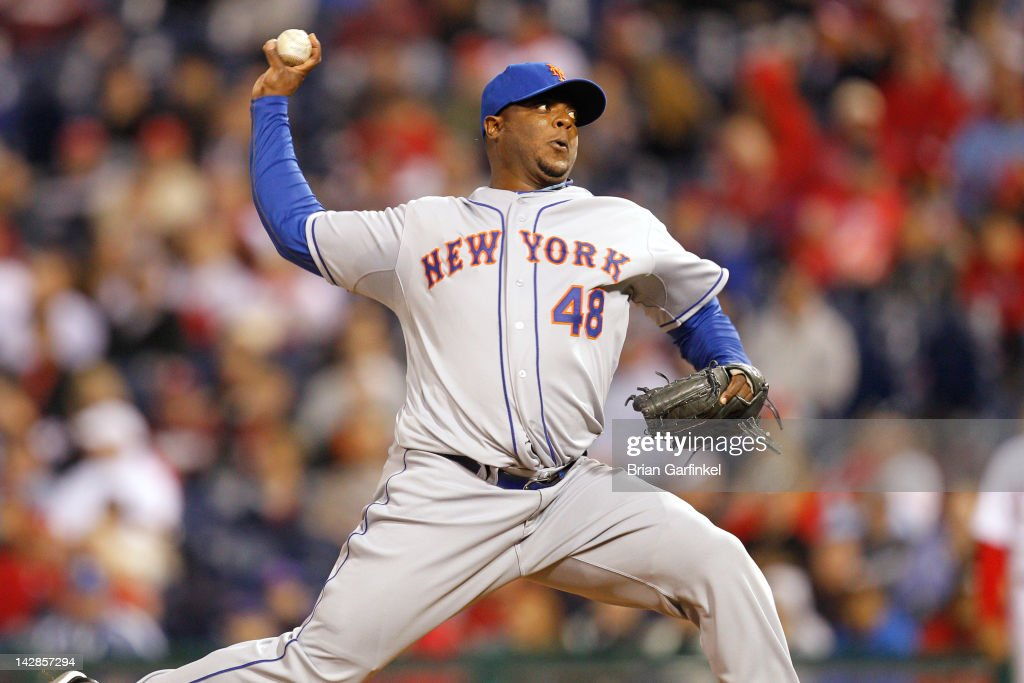 Closer <a gi-track='captionPersonalityLinkClicked' href=/galleries/search?phrase=Frank+Francisco&family=editorial&specificpeople=798081 ng-click='$event.stopPropagation()'>Frank Francisco</a> #48 of the New York Mets throws a pitch during the game against the Philadelphia Phillies at Citizens Bank Park on April 13, 2012 in Philadelphia, Pennsylvania. The Mets won 5-2.