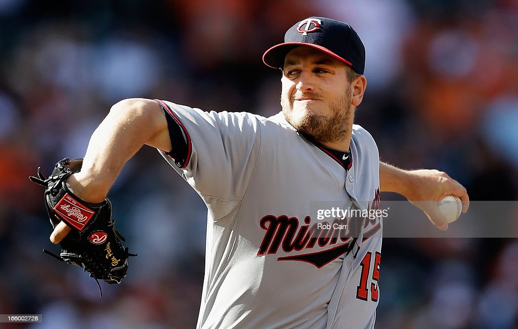 Closer <a gi-track='captionPersonalityLinkClicked' href=/galleries/search?phrase=Glen+Perkins&family=editorial&specificpeople=835845 ng-click='$event.stopPropagation()'>Glen Perkins</a> #15 of the Minnesota Twins throws to a Baltimore Orioles batter during the ninth inning of the Twins 4-3 win at Oriole Park at Camden Yards on April 7, 2013 in Baltimore, Maryland.
