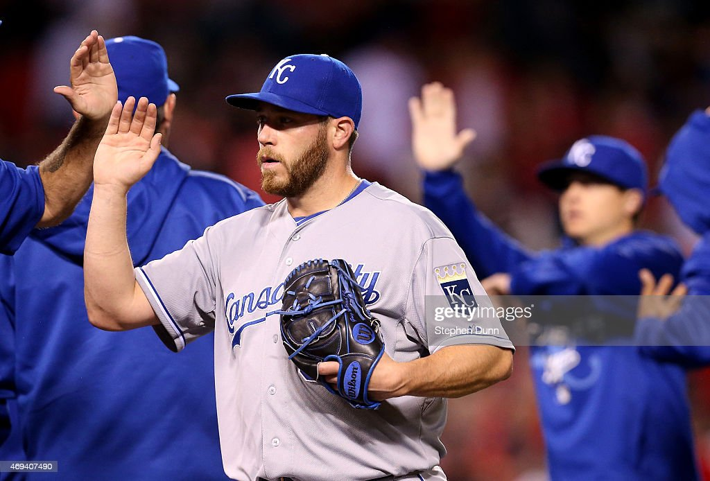 Closer <a gi-track='captionPersonalityLinkClicked' href=/galleries/search?phrase=Greg+Holland+-+Baseball+Player&family=editorial&specificpeople=8603047 ng-click='$event.stopPropagation()'>Greg Holland</a> #56 of the Kansas City Royals celebrates after pitching the ninth inning and picking up the save against the Los Angeles Angels of Anaheim at Angel Stadium of Anaheim on April 11, 2015 in Anaheim, California. The Royals won 6-4.