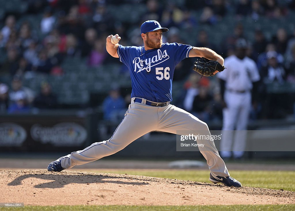 Closer Greg Holland #56 of the Kansas City Royals delivers during the ninth inning against the Chicago White Sox on April 4, 2012 at U.S. Cellular Field in Chicago, Illinois. The Royals defeated the White Sox 3-1.