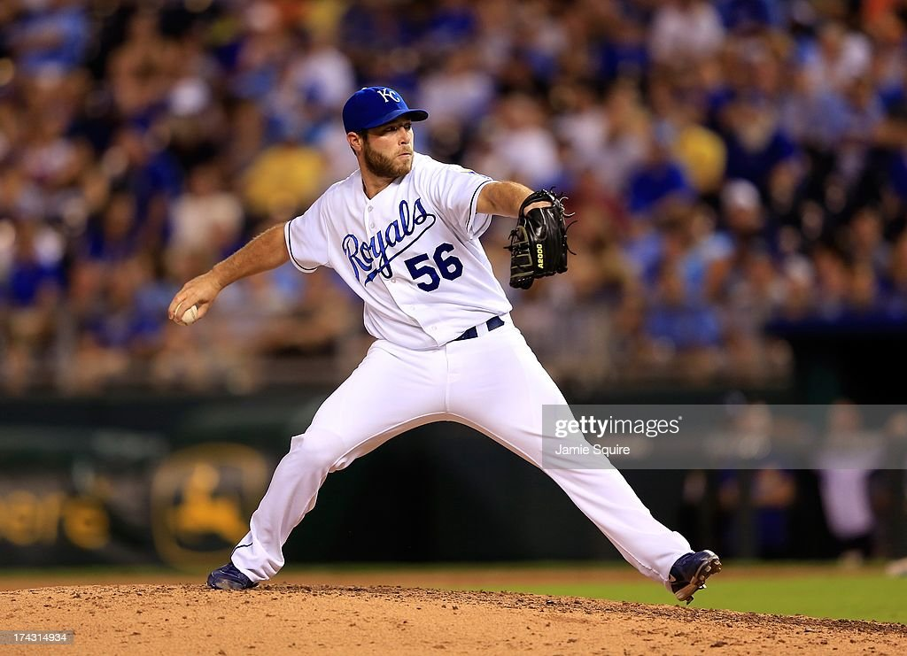 Closer Greg Holland #56 of the Kansas City Royals in action during the game against the Baltimore Orioles at Kauffman Stadium on July 23, 2013 in Kansas City, Missouri.