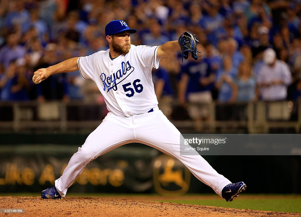 Closer <a gi-track='captionPersonalityLinkClicked' href=/galleries/search?phrase=Greg+Holland+-+Baseball+Player&family=editorial&specificpeople=8603047 ng-click='$event.stopPropagation()'>Greg Holland</a> #56 of the Kansas City Royals pitches during the 9th inning of the game against the Oakland Athletics at Kauffman Stadium on April 17, 2015 in Kansas City, Missouri.