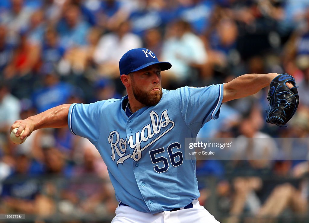 Closer <a gi-track='captionPersonalityLinkClicked' href=/galleries/search?phrase=Greg+Holland+-+Baseball+Player&family=editorial&specificpeople=8603047 ng-click='$event.stopPropagation()'>Greg Holland</a> #56 of the Kansas City Royals pitches during the game against the Minnesota Twins at Kauffman Stadium on July 5, 2015 in Kansas City, Missouri.