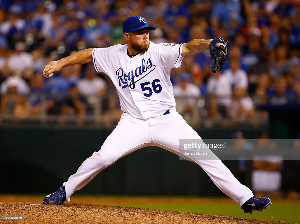 Closer <a gi-track='captionPersonalityLinkClicked' href=/galleries/search?phrase=Greg+Holland+-+Baseball+Player&family=editorial&specificpeople=8603047 ng-click='$event.stopPropagation()'>Greg Holland</a> #56 of the Kansas City Royals pitches during the game against the Chicago White Sox at Kauffman Stadium on August 8, 2015 in Kansas City, Missouri.