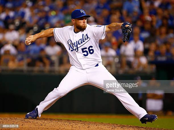 Closer Greg Holland of the Kansas City Royals pitches during the game against the Chicago White Sox at Kauffman Stadium on August 8 2015 in Kansas...