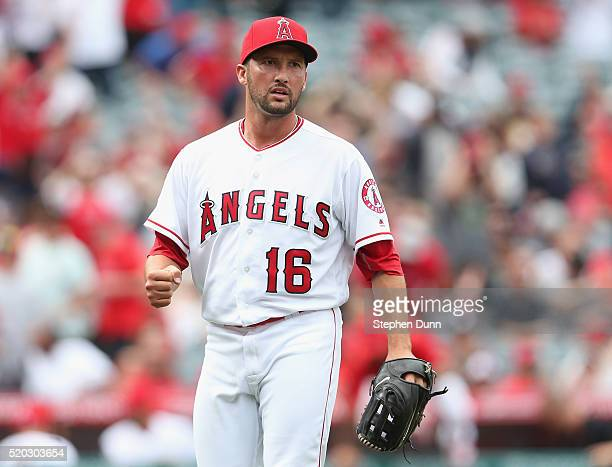 Closer Huston Street of the Los Angeles Angels of Anaheim tpumps his fist in the ninth inning as he gets the final out to pick up a save against the...