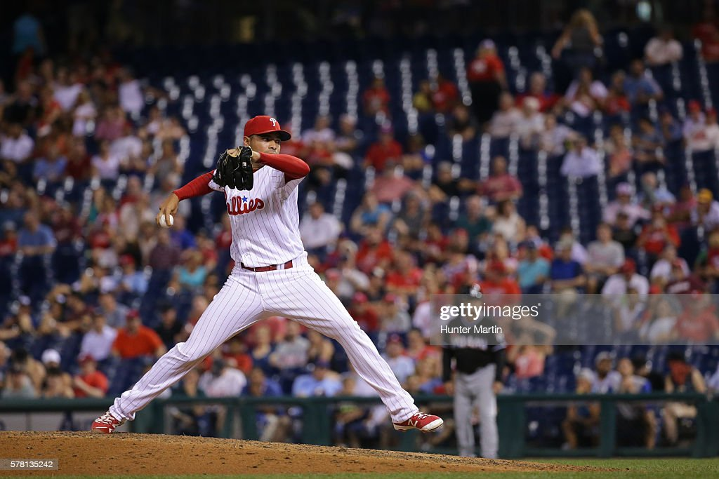 Closer Jeanmar Gomez #46 of the Philadelphia Phillies throws a pitch in the ninth inning during a game against the Miami Marlins at Citizens Bank Park on July 20, 2016 in Philadelphia, Pennsylvania. The Phillies won 4-1.