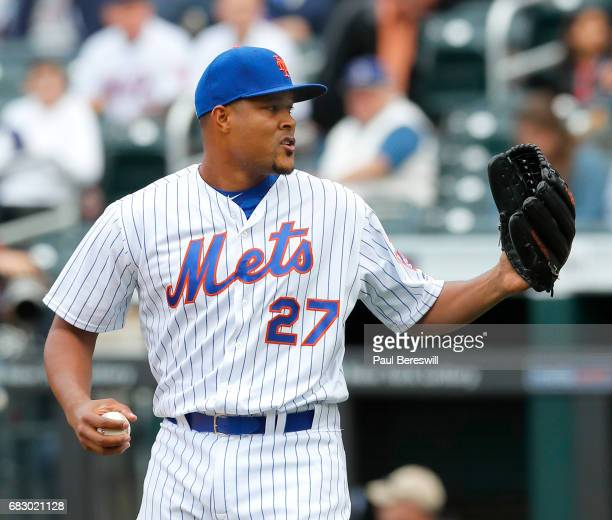 Closer Jeurys Familia of the New York Mets pitches in the ninth inning in an MLB baseball game against the San Francisco Giants on May 10 2017 at...