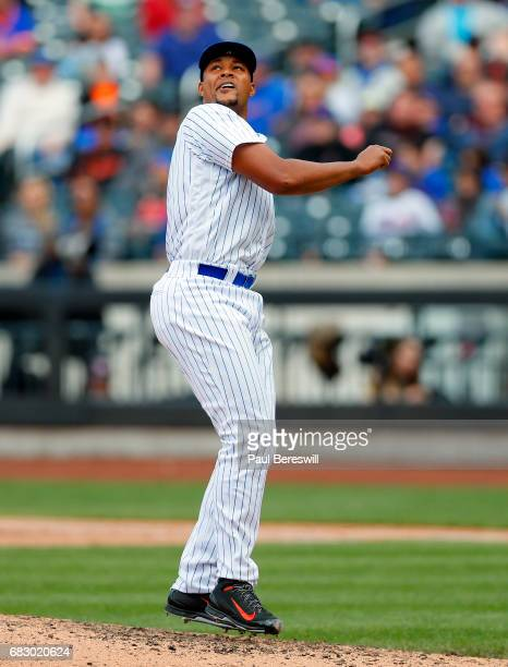 Closer Jeurys Familia of the New York Mets reacts in the ninth inning of an MLB baseball game against the San Francisco Giants on May 10 2017 at...