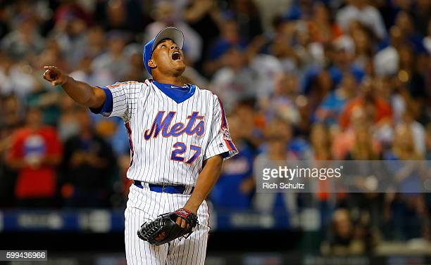 Closer Jeurys Familia of the New York Mets reacts to the final out in their 51 win over the Washington Nationals during a game at Citi Field on...
