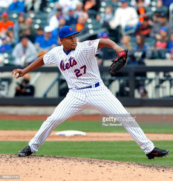 Closer Jeurys Familia of the New York Mets throws a pitch in the ninth inning of an MLB baseball game against the San Francisco Giants on May 10 2017...