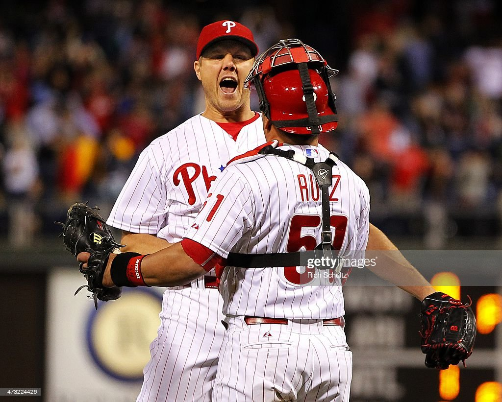 Closer Jonathan Papelbon of the Philadelphia Phillies celebrates the Phillies 32 win over the Pittsburgh Pirates at Citizens Bank Park on May 13 2015...