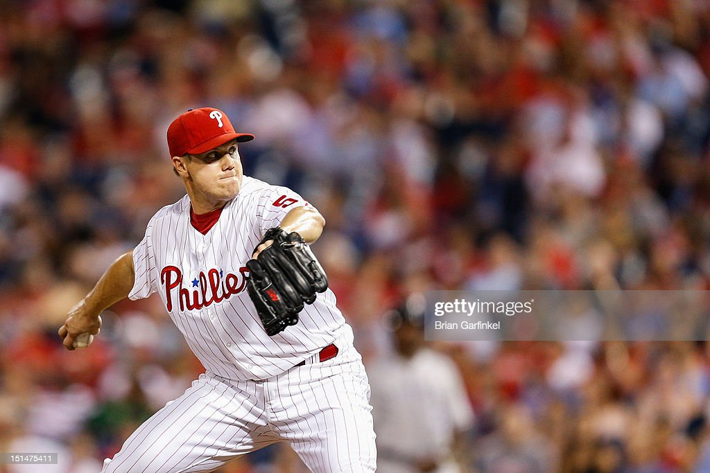 Closer <a gi-track='captionPersonalityLinkClicked' href=/galleries/search?phrase=Jonathan+Papelbon&family=editorial&specificpeople=453535 ng-click='$event.stopPropagation()'>Jonathan Papelbon</a> #58 of the Philadelphia Phillies throws a pitch during the game against the Colorado Rockies at Citizens Bank Park on September 7, 2012 in Philadelphia, Pennsylvania. The Phillies won 3-2.