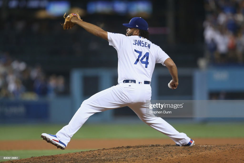 Closer Kenley Jansen #74 of the Los Angeles Dodgers in the ninth inning on his way to getting the save against the San Diego Padres at Dodger Stadium on August 12, 2017 in Los Angeles, California. The Dodgers won 6-3.