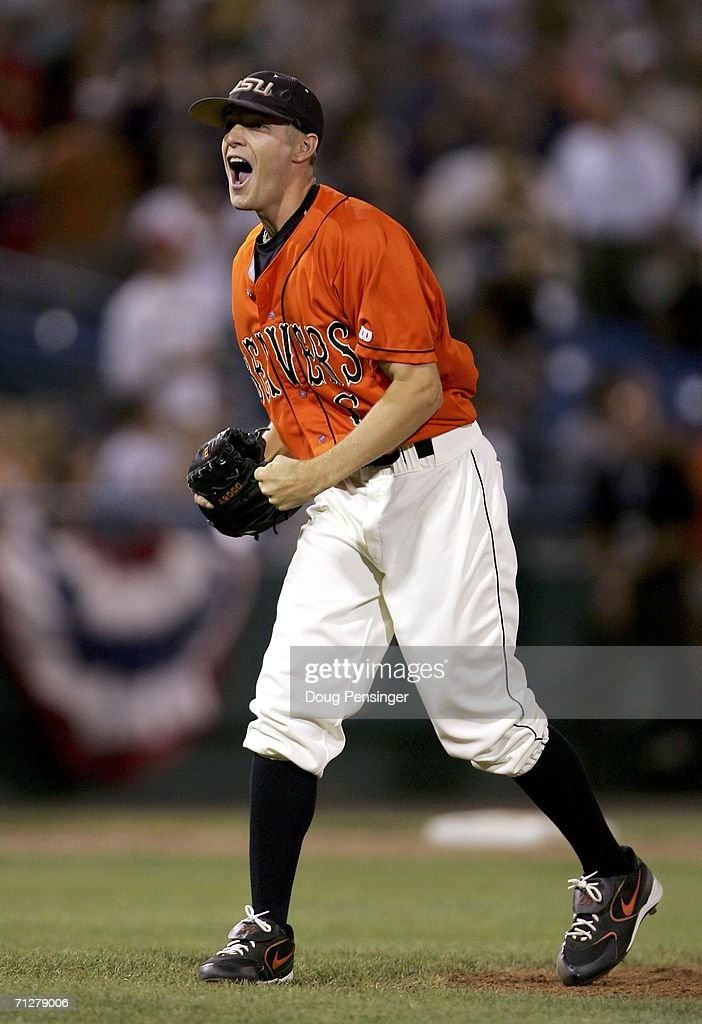 Closer Kevin Gunderson of the Oregon State Beavers reacts after the final out against the Rice Owls at Rosenblatt Stadium on June 22 2006 in Omaha...