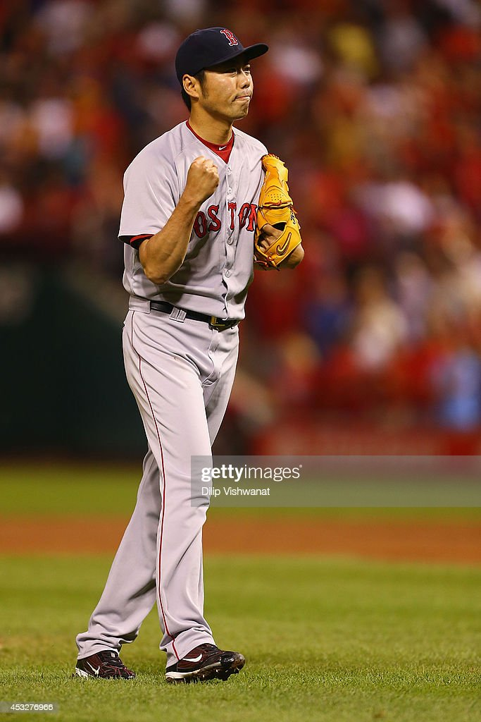 Closer <a gi-track='captionPersonalityLinkClicked' href=/galleries/search?phrase=Koji+Uehara&family=editorial&specificpeople=801278 ng-click='$event.stopPropagation()'>Koji Uehara</a> #19 of the Boston Red Sox celebrates after beating the St. Louis Cardinals at Busch Stadium on August 6, 2014 in St. Louis, Missouri. The Red Sox beat the Cardinals 2-1.