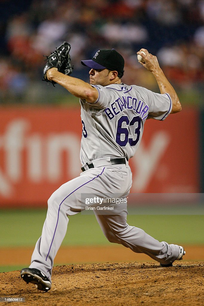 Closer <a gi-track='captionPersonalityLinkClicked' href=/galleries/search?phrase=Rafael+Betancourt&family=editorial&specificpeople=224728 ng-click='$event.stopPropagation()'>Rafael Betancourt</a> #63 of the Colorado Rockies throws a pitch in the ninth inning of the game against the Philadelphia Phillies at Citizens Bank Park on June 20, 2012 in Philadelphia, Pennsylvania. The Phillies won 7-6.