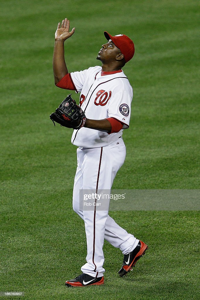 Closer <a gi-track='captionPersonalityLinkClicked' href=/galleries/search?phrase=Rafael+Soriano&family=editorial&specificpeople=587892 ng-click='$event.stopPropagation()'>Rafael Soriano</a> #29 of the Washington Nationals celebrates after the Nationals defeated the Chicago White Sox 5-2 at Nationals Park on April 10, 2013 in Washington, DC.