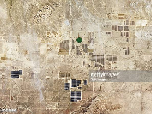 A closer satellite view of California City of sustainable and renewable energy projects in Northern Antelope Valley on December 13 2015 in California...