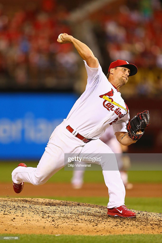 Closer <a gi-track='captionPersonalityLinkClicked' href=/galleries/search?phrase=Trevor+Rosenthal&family=editorial&specificpeople=9003011 ng-click='$event.stopPropagation()'>Trevor Rosenthal</a> #26 of the St. Louis Cardinals pitches against the Boston Red Sox in the ninth inning at Busch Stadium on August 6, 2014 in St. Louis, Missouri. The Red Sox beat the Cardinals 2-1.