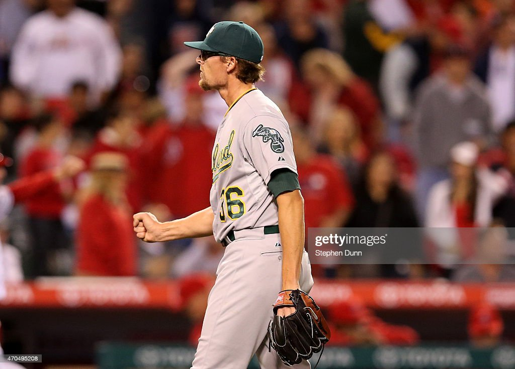 Closer <a gi-track='captionPersonalityLinkClicked' href=/galleries/search?phrase=Tyler+Clippard&family=editorial&specificpeople=4172556 ng-click='$event.stopPropagation()'>Tyler Clippard</a> #36 of the Oakland Athletics reacts after getting the final out and picking up the save against the Los Angeles Angels of Anaheim at Angel Stadium of Anaheim on April 20, 2015 in Anaheim, California. The As won 5-3.
