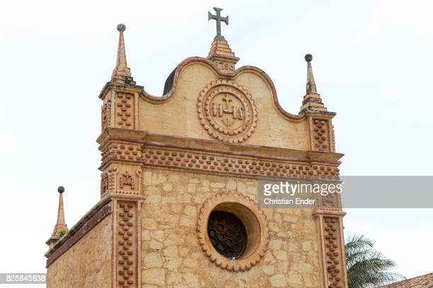 Bolivia San Jose de Chiquitos November 25 2016 A closer view of the front of the Jesuit reduction in San Jose is showing the cross on the top of the...