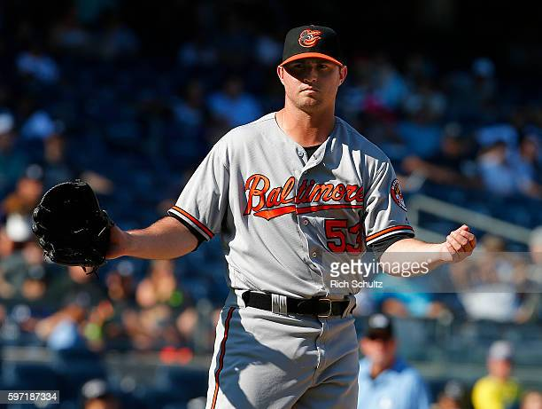 Closer Zach Britton Baltimore Orioles reacts after the final out against the New York Yankees during a game at Yankee Stadium on August 28 2016 in...