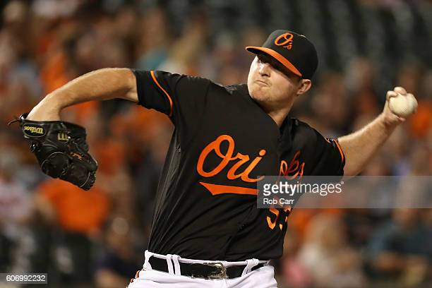 Closer Zach Britton of the Baltimore Orioles throws to a Tampa Bay Rays batter in the ninth inning of the Orioles 54 win at Oriole Park at Camden...