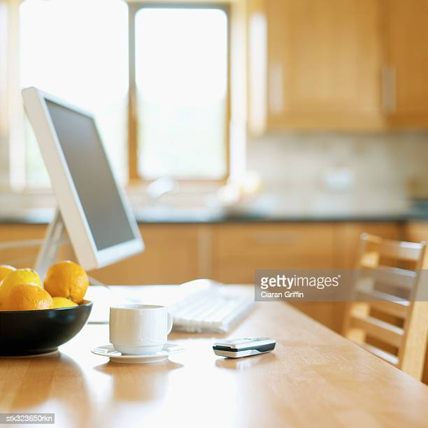 close-up a desktop pc on a table