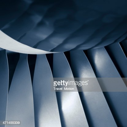 Close-up aircraft jet engine turbine