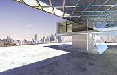 Closeup and perspective view of empty cement floor with modern steel and glass building exterior . 3D rendering and real images mixed media .