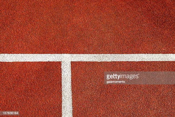 Closeup arrangement of tennis court floor