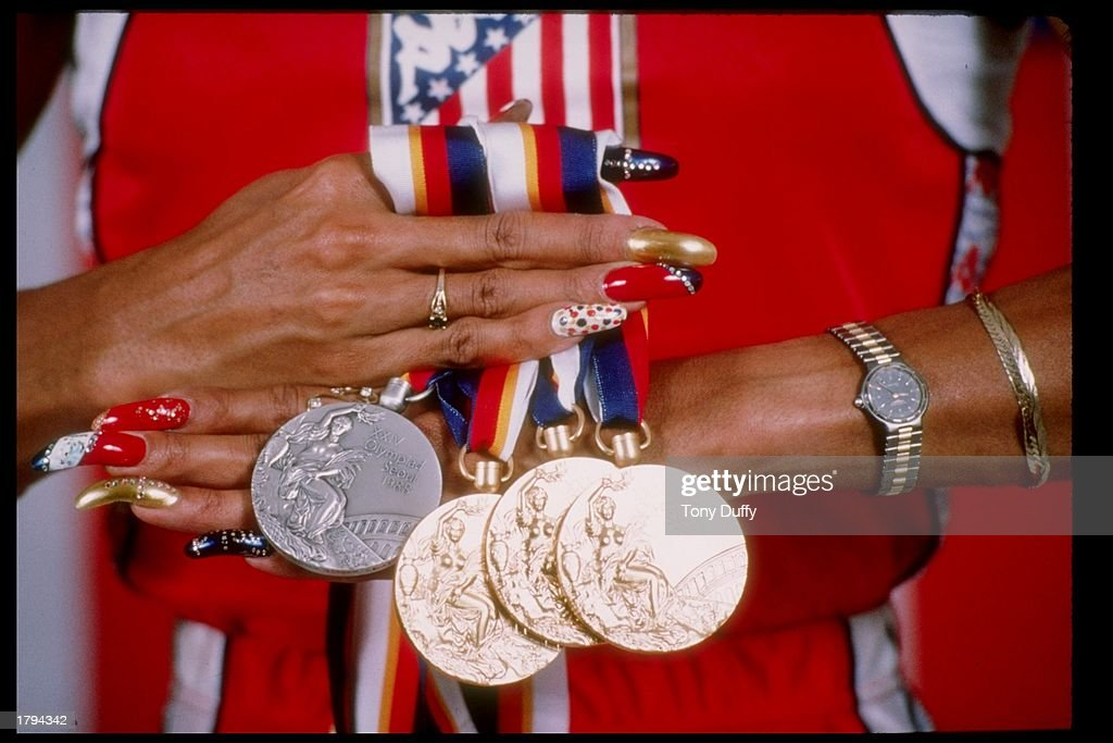 General view of Florence Griffith-Joyner''s medals won at the Summer Olympic Games in Seoul, South Korea. Mandatory Credit: Tony Duffy /Allsport