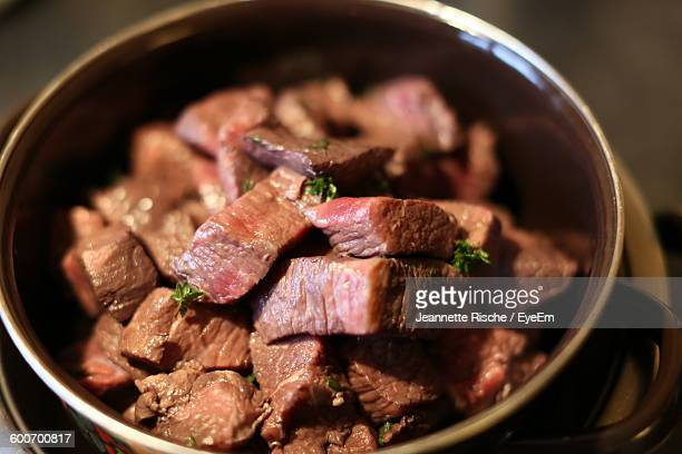 Close-Up Beef Bourguignon Served On Table