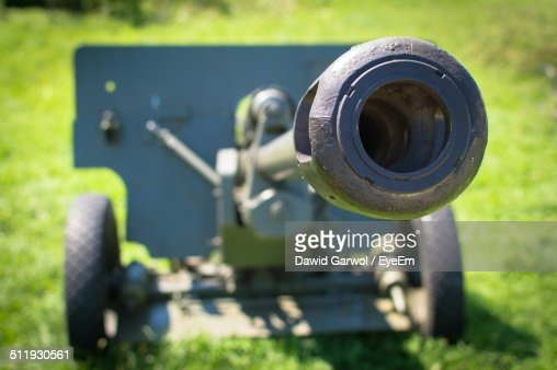 Close-up cannon on field