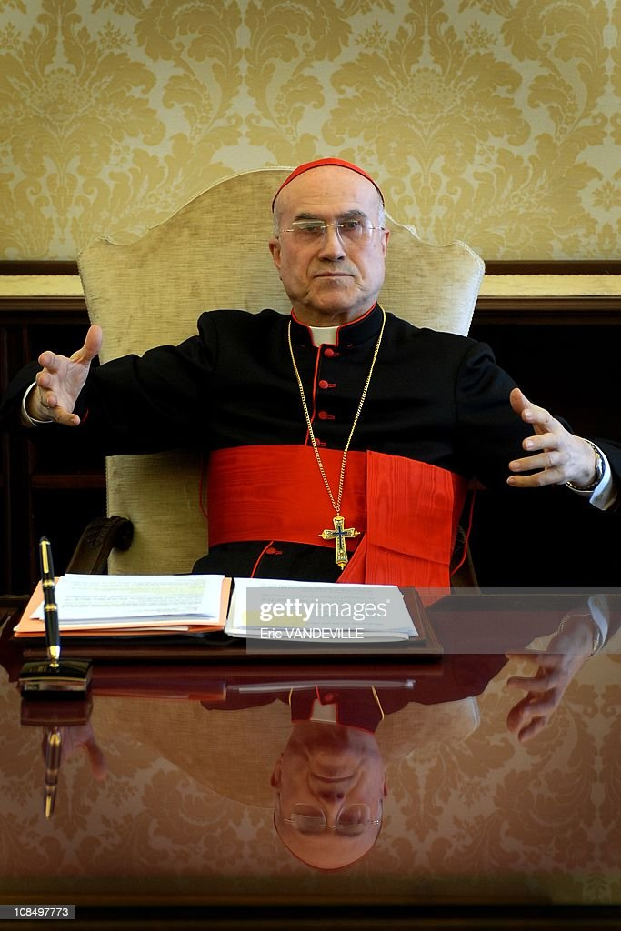 Cardinal <a gi-track='captionPersonalityLinkClicked' href=/galleries/search?phrase=Tarcisio+Bertone&family=editorial&specificpeople=549351 ng-click='$event.stopPropagation()'>Tarcisio Bertone</a>, Vatican Secretary of State since september 2006. The Secretary of State is the 2nd-ranking official at the Vatican, with broad authority over the internal and external policies of the Holy See. Acting effectively as 'prime minister' for the Roman Pontiff, the Secretary of State coordinates the flow of work at the Holy See, and exerts sweeping influence over other offices of the Roman Curia. A 71-year-old Salesian, Cardinal Bertone served from 1995 to 2002 as secretary of the Congregation for the Doctrine of the Faith, where he was deputy to then-Cardinal Joseph Ratzinger. Unlike most prelates who have served as Secretary of State in recent years, Cardinal Bertone has never been active in the Vatican diplomatic corps; he is the first non-diplomat to occupy the office since Cardinal Jean Villot was appointed by Pope Paul VI in 1969.