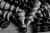 wooden chess pieces/ conceptual image of win win situation