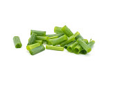 Closeup Chopped fresh green leaf onions isolated on white background .