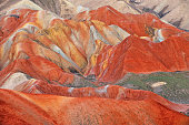 Close-up of danxia landform sedimentary rock at sunset, Zhangye, Gansu Province, China.