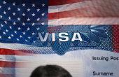 Close-up detail of American VISAClose-up detail of American VISA