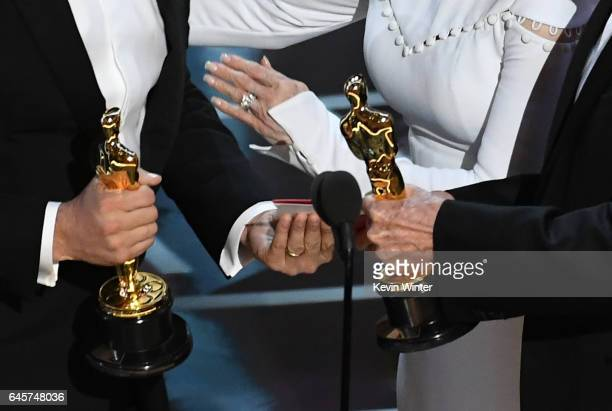 Closeup detail shot of Oscar statuettes as 'La La Land' producer Jordan Horowitz accepts Best Picture after a presentation error with actor Warren...