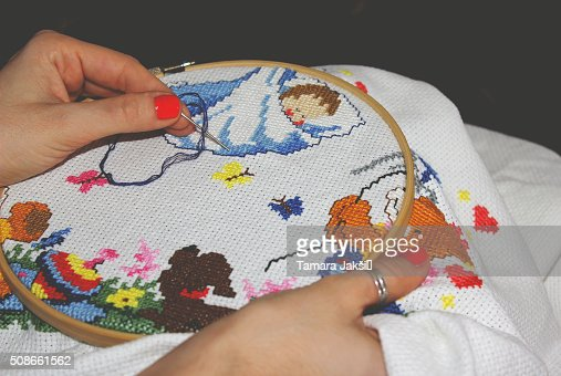 Close-up embroidery : Stock Photo