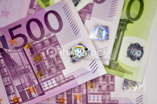 Close Up Euro Currency Note European Union Stock Photo