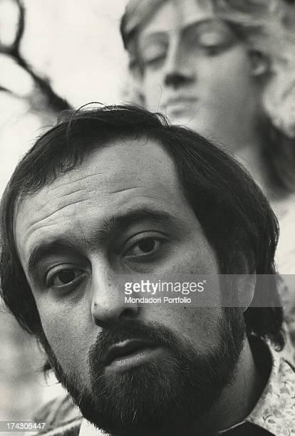 Closeup face profile of the singer Lucio Dalla Milan 1968