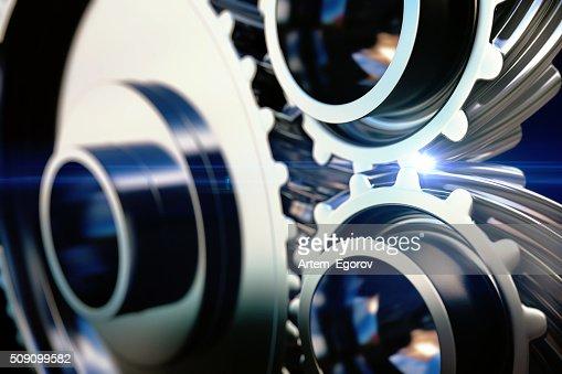 close-up gear metal wheels : Stock Photo